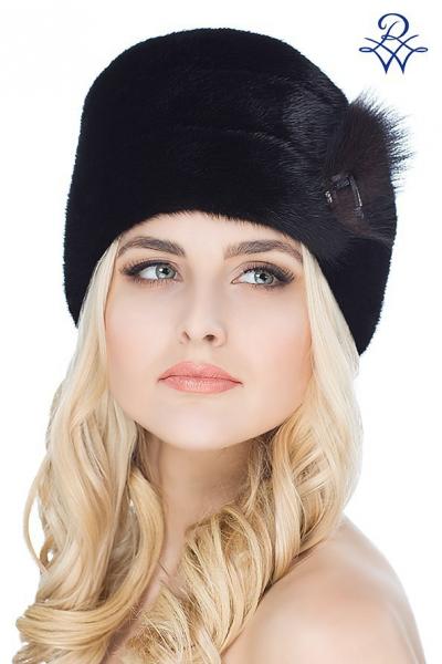 Головной убор меховой женский 1634 шапка Дебора норка сканблэк 9f865b837921e