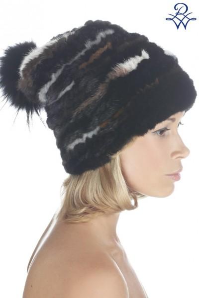 Головной убор меховой женский 04736523 шапочка норка вязанная 11084cb69c307