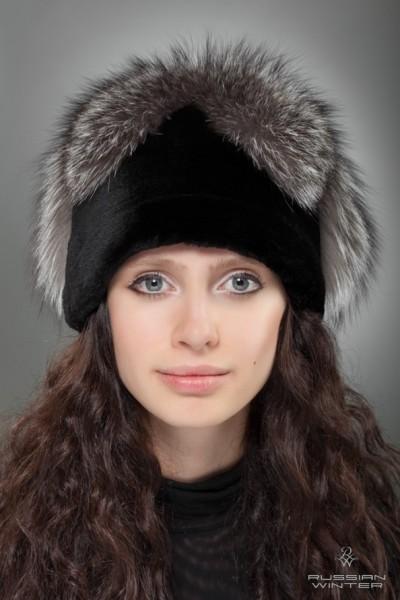 Головной убор меховой женский колпачок Звезда лиса серебристо-чёрная, норка чёрная - купить в Москве по выгодной цене
